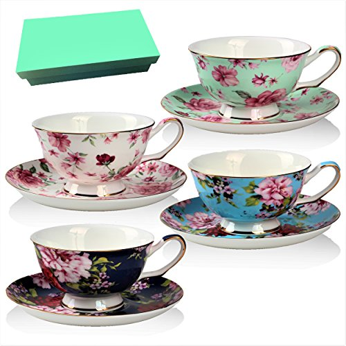 [Tea Cup and Saucer Set of 4 with Gift Box , Floral Tea Cups, 8 Oz.Bone China Porcelain] (Porcelain China Cup)