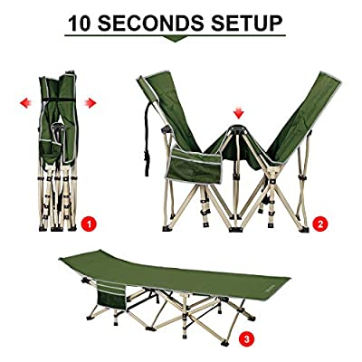 DRMOIS Camping cots, Oversized Portable Foldable Outdoor Bed for Adults Kids, Heavy Duty Cot for Traveling Gear Supplier, Office Nap, Beach Vocation and Home Lounging, Support 450 lbs