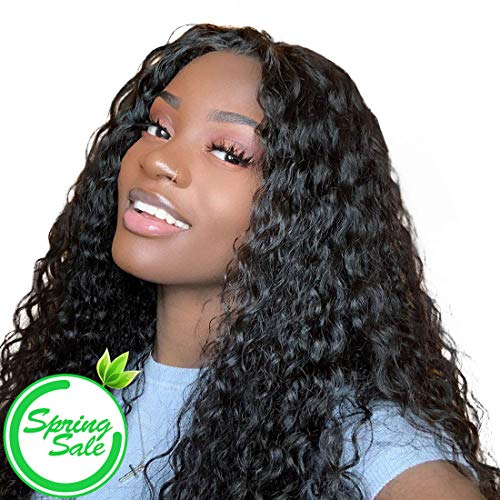 VSHOW Hair Lace Front Pre-plucked Wigs Human Hair Peruvian Water Wave Wet and Wavy Virgin Hair 130% Density 16 Inches for Black Women