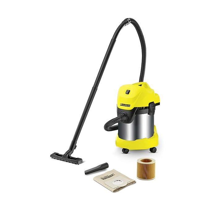 Kärcher WD 3 Premium - Aspirador en seco y húmedo, 1000 W, 17 l con depósito en acero inox + Kärcher Kit para el hogar (2.863-002.0)