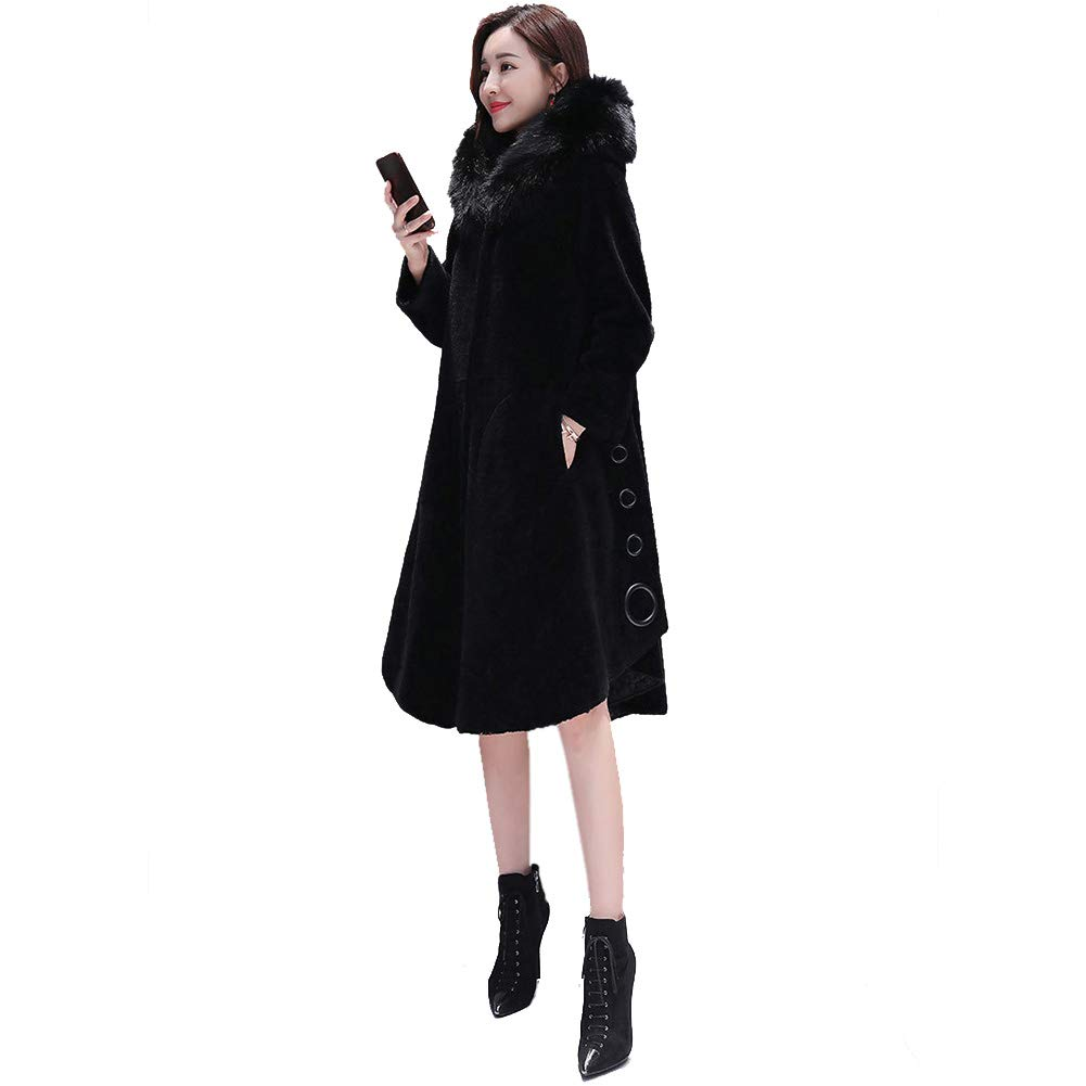 Black Shearling Coats Women's Winter Hooded Medium And Long Section Faux Fur Collar Fur Warm Overcoat, Solid color