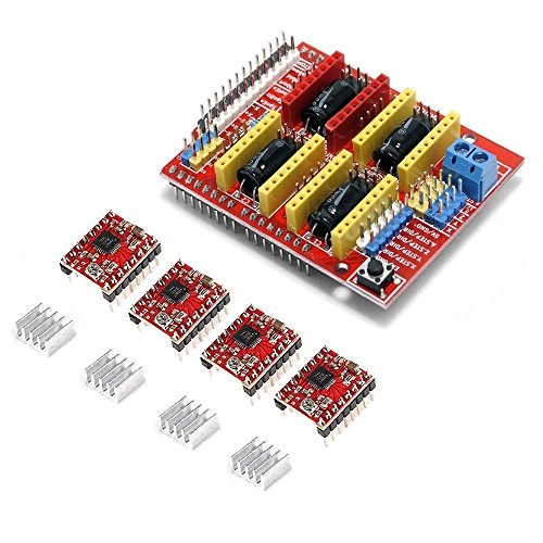 Gowoops CNC Shield V3 Expansion Board + 4PCS A4988 Step Motor Driver with Heatsinks for Arduino 3D Printer by Gowoops
