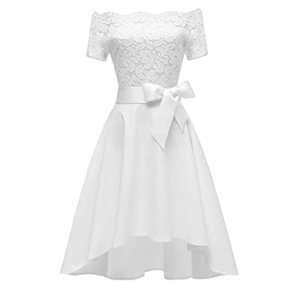 Ladies Elegant Dresses Formal Mini One Shoulder Lace Dress Prom Evening Party Cocktail Short Bow Bridesmaid Gown White 2xl