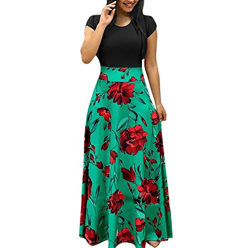 Huifa Womens Fashion Casual Floral Printed Maxi Dress Short Sleeve Party Long Dress (Green,M)
