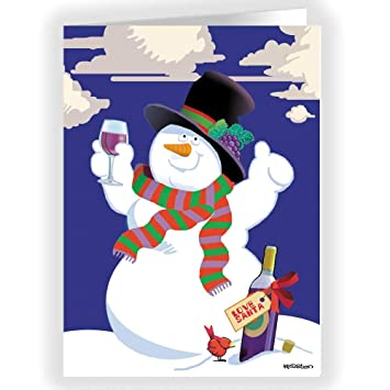 snowman wine cheer christmas card 18 wine theme christmas cards envelopes - Snowman Christmas Cards