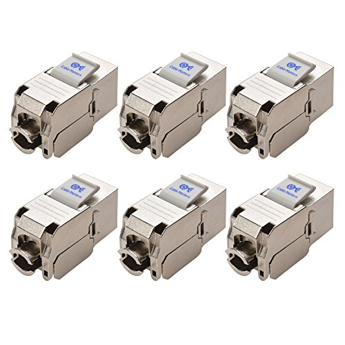 ([UL Listed] Cable Matters 6-Pack RJ45 Shielded Cat6A Keystone Jack)