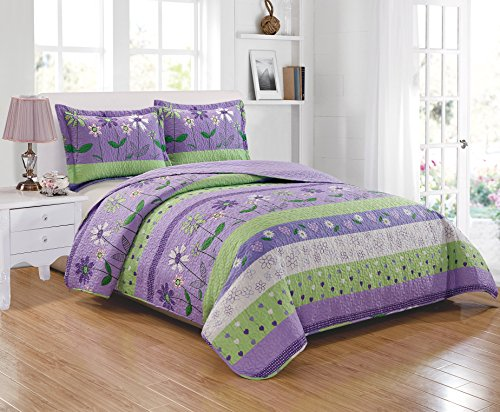 (Mk Collection 3pc Full/Queen Size Bedspread Set Purple/Lavender Green White Flower Petals New)