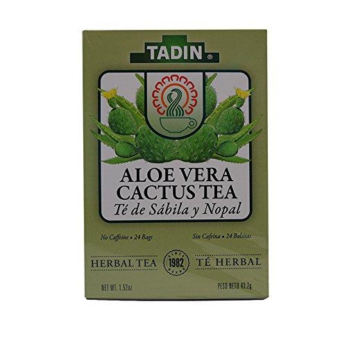 Tadin Tea Aloe Vera With Cactus 24 Bags - Te De Sabila Con Nopal- Diabetic Tea Helps control Blood Sugar & Cholesterole ()