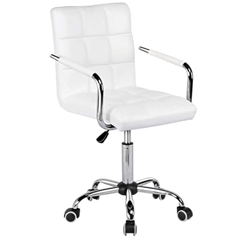 Fine Yaheetech Office Chair White Faux Leather Swivel Computer Desk Chair Adjustable Home Office Study Room Furniture Gmtry Best Dining Table And Chair Ideas Images Gmtryco