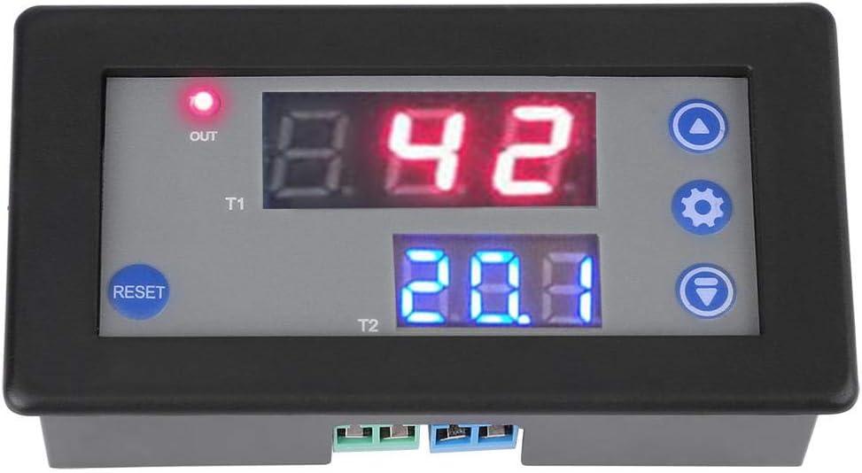 Relé de retardo de temporización, módulo de ciclo de retardo de temporización digital Interruptor de relé de temporización de 12 V con pantalla LED dual
