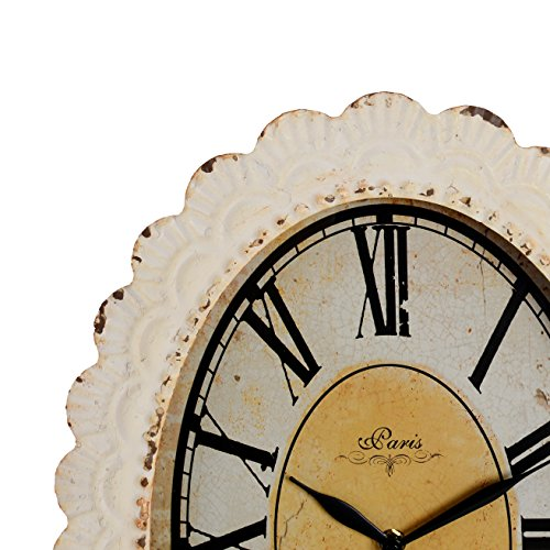 NIKKY HOME Paris Flower Wall Clock, 13-3/8'' x 2-3/4'' x 18-1/8'', Off-White by NIKKY HOME (Image #1)