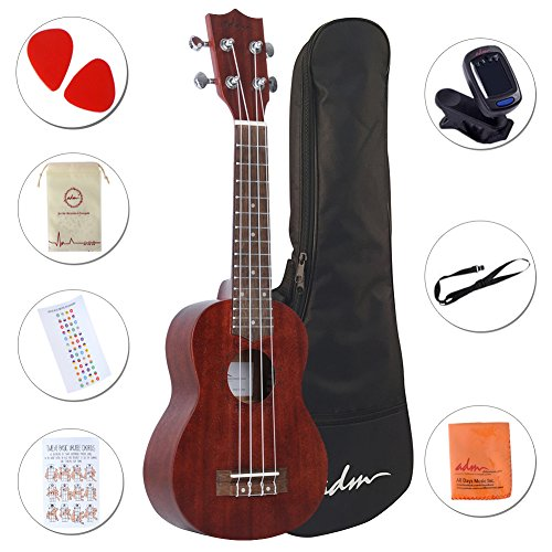 ADM Soprano Ukulele 21 Inch Mahogany Professional with Ukulele Set Gig Bag, Tuner, Fingerboard Sticker, Strap by ADM