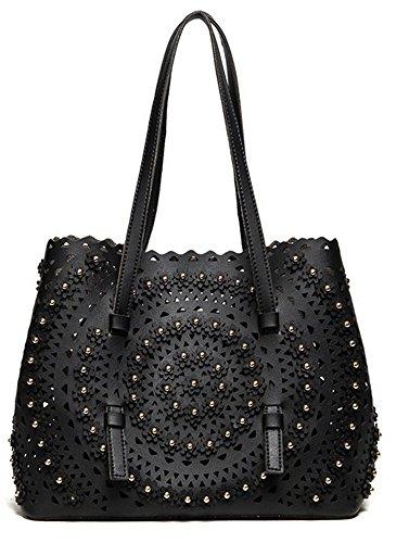 Rrock Woman Fashion Rivets Three-dimensional Flowers Shoulder Bags Cutovers Hollow Stem Messenger Bags, Black Black
