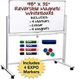 Large White Board on Wheels: Reversible Magnetic Dry Erase Board with Rolling Stand, Mobile Reversible Whiteboard for School or Office