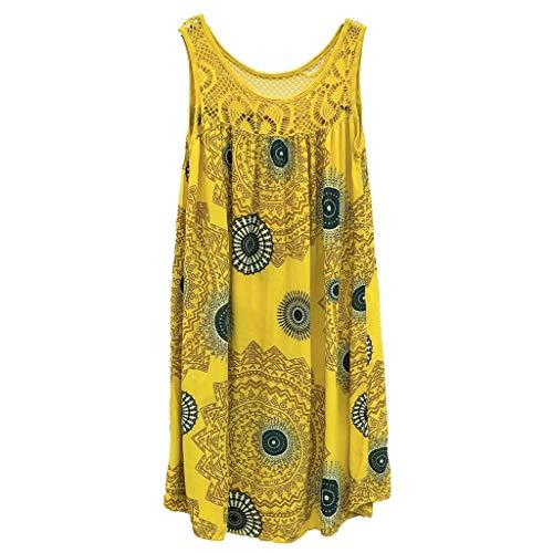 Women Dresses Scoop Neck Sleeveless Lace Splice Casual Loose Beach Plain T-Shirt Swing Dress (5XL, Yellow 2) ()