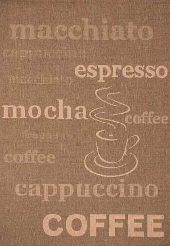 Lalee  347180462  Teppich / Sisal Optik / Flach / Küche / Muster : Kaffee Bistro / Braun / Grösse : 200 x 290 cm
