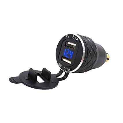 SODIAL Doble Adaptador de 5V 2.1A DIN A USB,Aleación de Aluminio, Motocicleta Europea,Cargador USB,Puerto T,Puerto,Toma de Corriente, Voltímetro,para ...