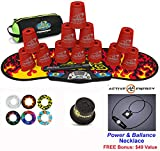 Speed Stacks Combo Set 'The Works'': 12 RED 4'' Cups, Black Flame Gen 3 Mat, G4 Pro Timer, Cup Keeper, Stem, Gear Bag + Active Energy Necklace