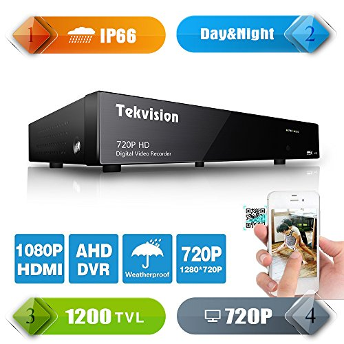 Tekvision 8 Channels DVR CCTV Security Network Mobile 720P 1200TVL QR code scan Remote access 8Ch H.264 Digital Video Recorder(Hard Drive not included)