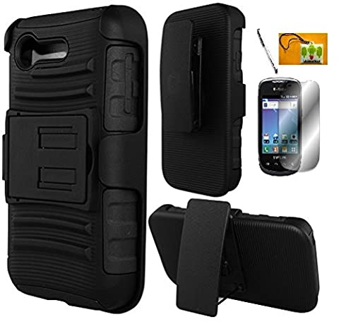 LF 4 in 1 Bundle - Black Hybrid Armor Stand Case with Holster and Locking Belt Clip, Lf Stylus Pen, Screen Protector & Droid Wiper Accessory for (Verizon) LG Optimus Zone 2 VS415PP, L34C Fuel (Straight Talk, Tracfone, Net 10) (Holster (Lg Optimus Cell Phone Holster)