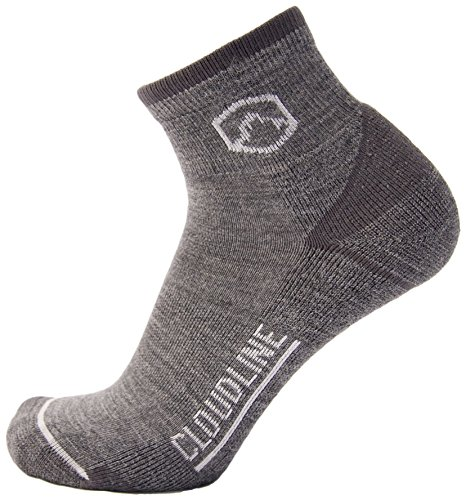 - CloudLine Merino Wool 1/4 Top Running & Athletic Socks - Light Cushion - Large Granite - Made in the USA