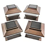 Set of 4 Bronze Finish Solar Power Light for 4 x 4 Deck & Post Cap