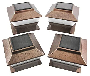 4 pack solar powered copper outdoor garden deck patio fence 4 pack solar powered copper outdoor garden deck patio fence pathway post light for 4x4 wood aloadofball Image collections