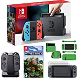 Nintendo Switch Console with Blue+Red JoyCon + Minecraft, JoyCon Charging Dock + More Kit