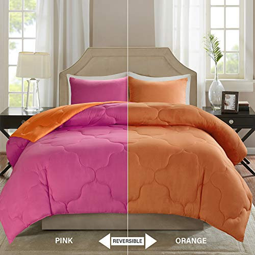 Comfort Spaces – Vixie undoable Goose decrease severa Comforter micro Set - 2 Piece – Pink and Orange – Stitched Geometrical Pattern – Twin/Twin XL Size, includes 1 Comforter, 1 Sham Black Friday & Cyber Monday 2018
