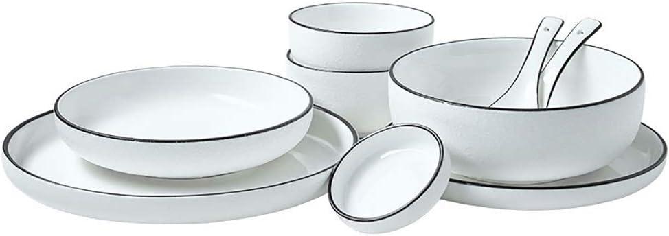 Recipiente de cerámica, línea negra creativa Juegos de cuencos de porcelana de bajo vidriado, que sirven para ensaladas/ramen/postre Juego de 9: Amazon.es: Hogar