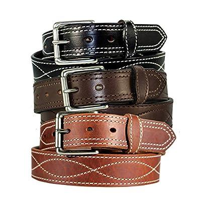 Men's Harness Leather Work Belt - 1 1/2 w/Decorative Figure 8 Stitching