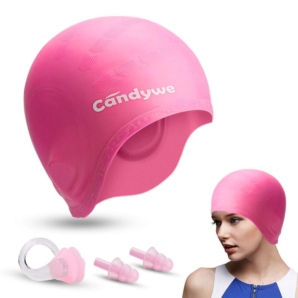 Long Hair Swim Cap Swimming Gear Bathing Women Hat Silicone Waterproof Pink Caps