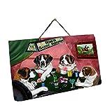 Home of Saint Bernard 4 Dogs Playing Poker Photo Slate Hanging