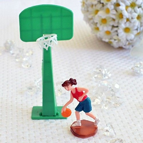 Dorigan home series Basketball Player Girl Woman And Hoop Cake Topper Sports Team Party Decoration ()