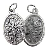 Silver Tone Catholic 4-Way Scapular Medal with Cross and Dove, 3/4 Inch