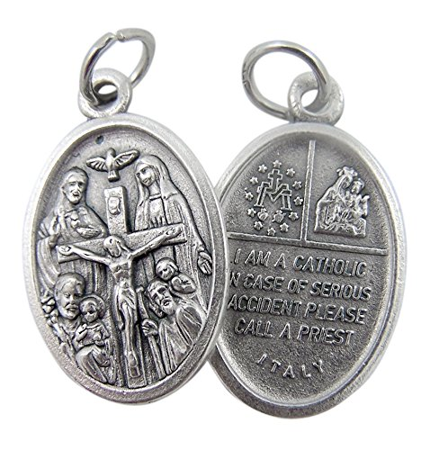 Scapular Medal Pendant - Silver Tone Catholic 4-Way Scapular Medal with Cross and Dove, 3/4 Inch