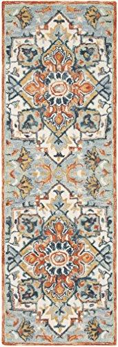 """Safavieh APN312A-27 Aspen Collection Premium Wool Runner, 2'3"""" x 7', Blue/Rust"""