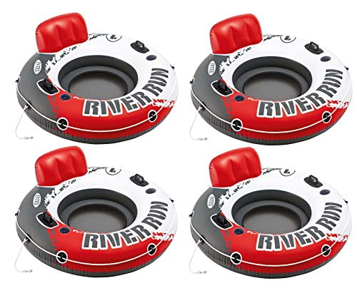 Intex Red River Run 1 Fire Edition Sport Lounge 4 pack, Inflatable Water Float, 53