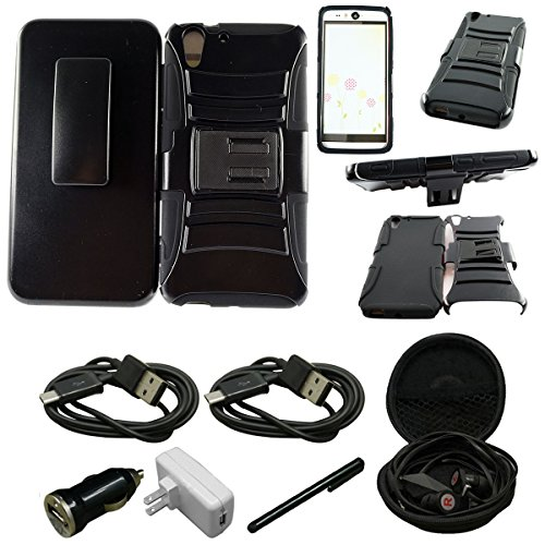 Mstechcorp - HTC Desire Eye Case, HTC Desire Eye Armor Series - Heavy Duty Dual Layer Holster Case Kick Stand with Locking Belt Swivel Clip - Includes [Car Charger + Data Cable] + [Wall Charger + Data Cable] + [Touch (Pinnacle Series Wall)