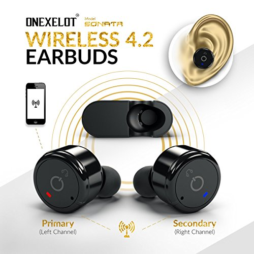 ONEXELOT Wireless headphones bluetooth earbuds with microphone Wireless Earphones with charging box, wireless earbuds for iPhone,Samsung, Android mod SONATA