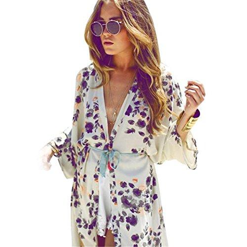 SKY Mujeres Floral Printed Chiffon Kimono Cardigan Coat Tops Blusa Cover up Blanco