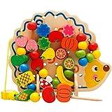 monta 可愛い紐通し 木製 はりねずみ フルーツ カラフル おもちゃ こども プレゼント