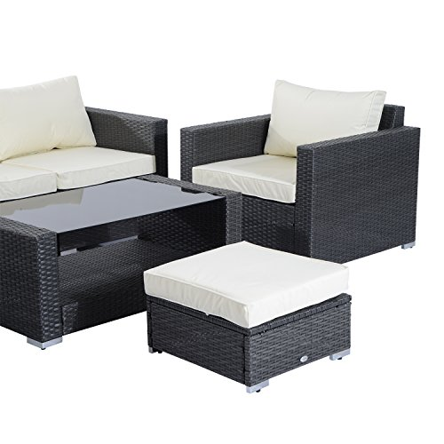 Outsunny Garden Rattan Furniture 7 Pcs Sofa Set Patio