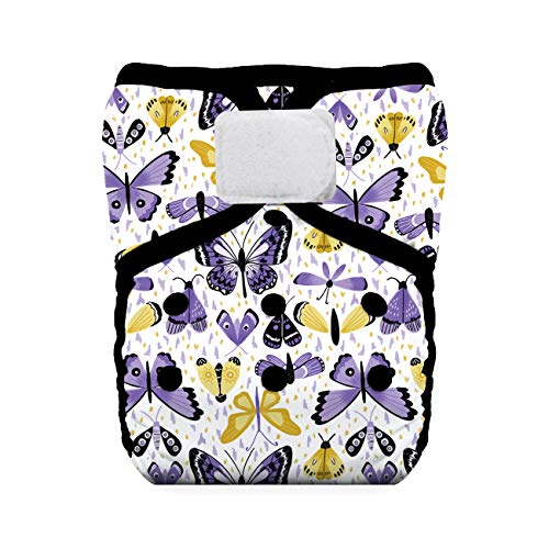 Thirsties Natural One Size Pocket Diaper, Hook & Loop Closure, Flutter by