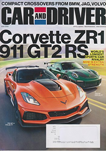 Car and Driver Augusts 2018 Corvette ZR1 911 GT2 RS - World's Longest Sports-Car Rivalry -