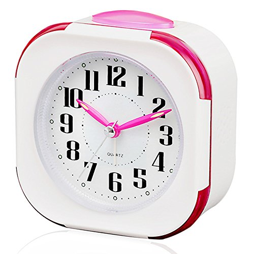 FAMICOZY Melody Alarm Clock with Snooze and Light,No Ticking,Battery Operated Quartz Clock for Girls Kids Children Teens,Magenta