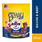 Purina Beggin' Strips Made in USA Facilities Dog Training Treats, Bacon & Beef Flavors - (4) 25 oz. Pouches