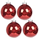 "KI Store Christmas Mercury Ball Ornaments Outdoor Hanging Tree Decorations Large Shatterproof Shinny Vintage Balls Set of 4(4"" Red)"