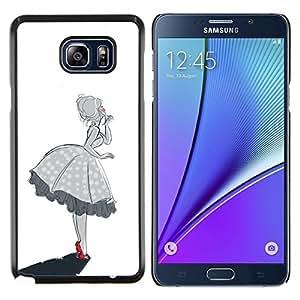 EJOOY---Cubierta de la caja de protección para la piel dura ** Samsung Galaxy Note 5 5th N9200 ** --blanco negro mujer sureña chica campana