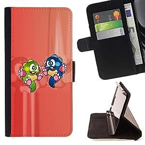 BullDog Case - FOR/Samsung Galaxy A3 / - / cartoon characters dinosaur colorful green blue /- Monedero de cuero de la PU Llevar cubierta de la caja con el ID Credit Card Slots Flip funda de cuer